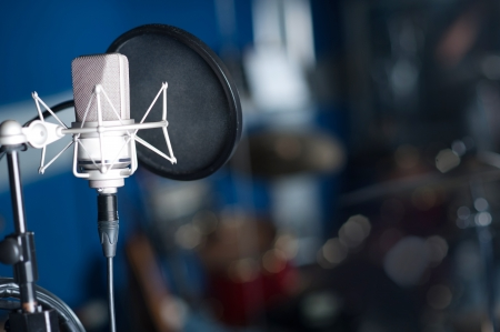 mike: Condenser microphone, recording studio shot
