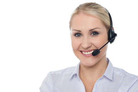 customer care: Confident smiling female customer support staff