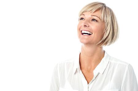 mujer sola: Hombre ejecutivo de negocios riendo Foto de archivo