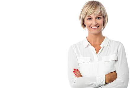 business woman standing: Confident beautiful isolated businesswoman