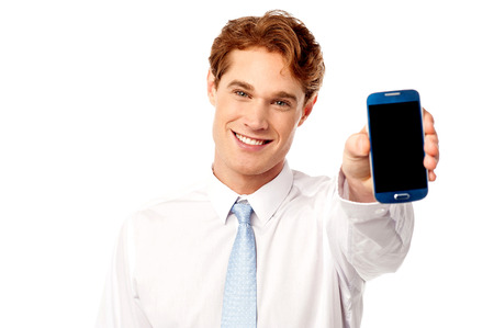 Sales representative displaying stylish cellphone photo