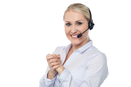 Confident smiling female customer support staff photo