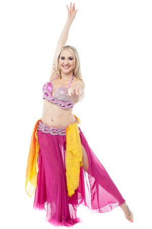 belly dancer: Professional belly dancer performing Stock Photo