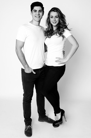 Black and white studio shot of romantic couple photo
