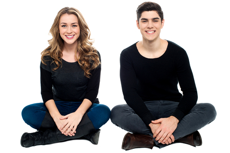 Attractive young loving couple, studio shot. photo