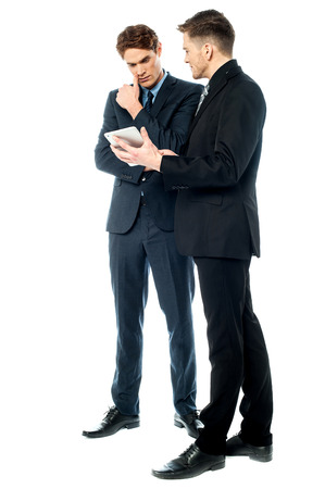 Business people discussing a presentation
