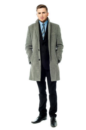 overcoat: Businessman wearing trendy overcoat