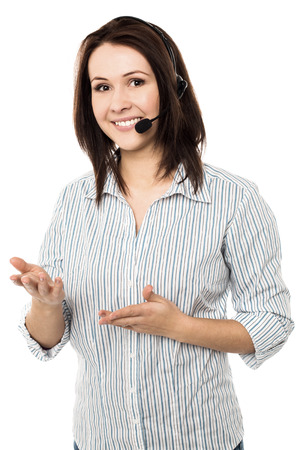 Cheerful customer support executive at your service photo