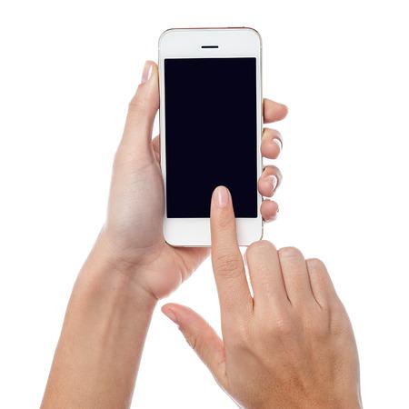 女性 hodling と営業のタッチ スクリーン携帯電話