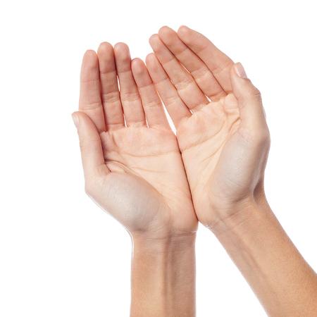manos abiertas: Manos ahuecadas de una mujer