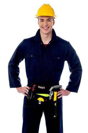 Happy young male construction worker photo