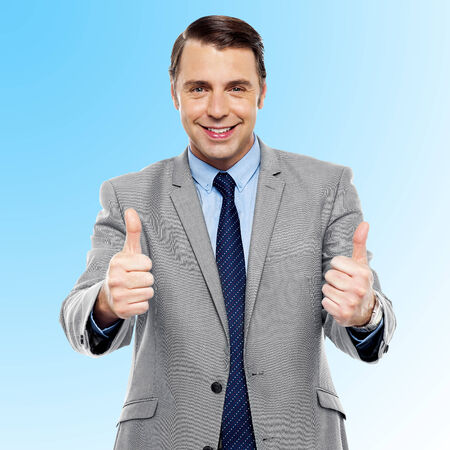 yup: Successful entrepreneur showing double thumbs up