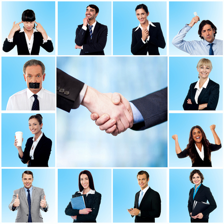 Business collage made of different elements photo
