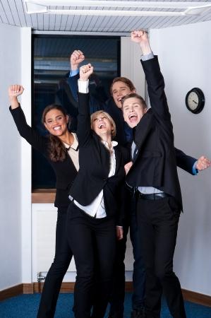 成功を祝う事業では、受賞者 写真素材