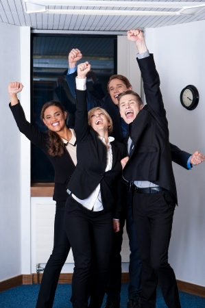 Winners in business, celebrating success photo