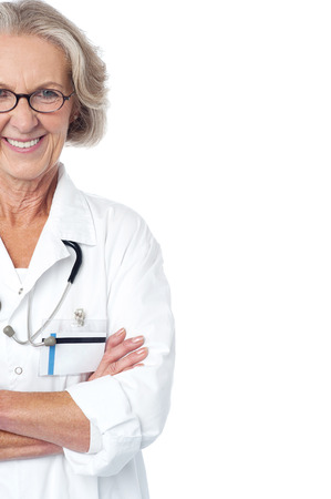 Cropped image of cheerful lady doctor posing confidently photo