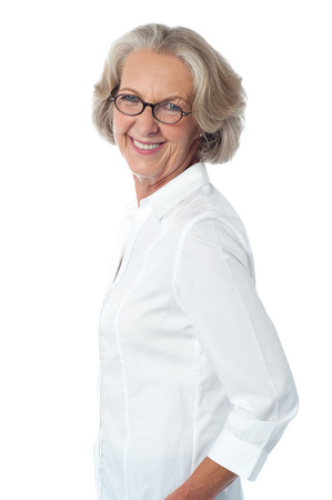 Casual happy woman against white background