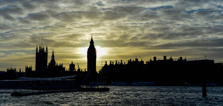 Sunset view of famous Big Ben, cloudy sky photo
