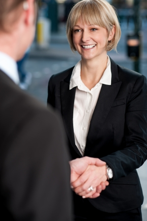 finalized: Business people shaking hands, deal finalized