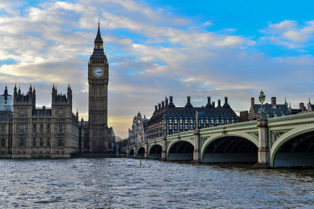 Big Ben and Westminster Bridge with River Thames photo