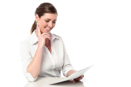 Financial expert reviewing business documents photo