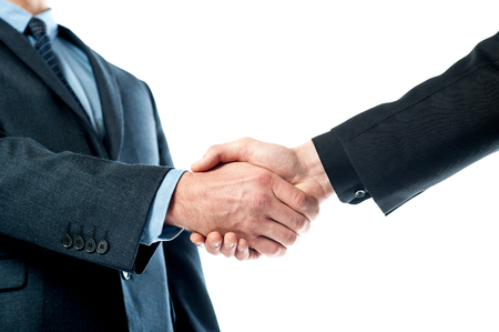 Cropped image of male executives shaking hands photo