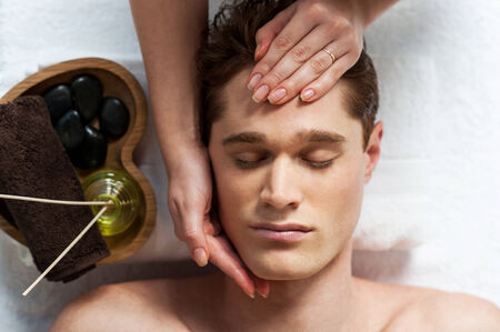 Facial massage in the spa salon photo