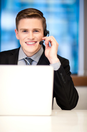 Smiling customer support executive photo