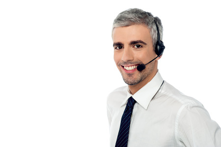 customer care: Call center consultant with headset