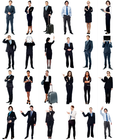 Set of business people, full length portraits. photo