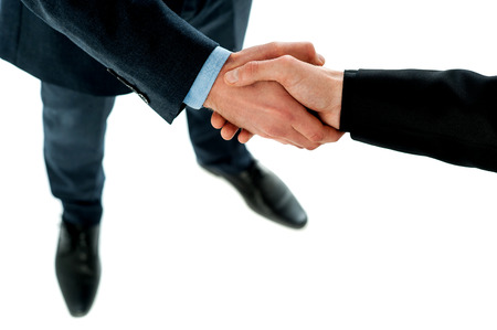 Successful business people handshaking closing a deal photo
