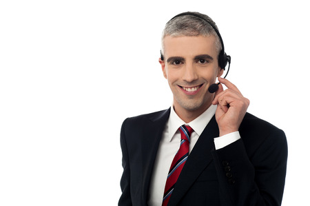 Young businessman communicating with client photo