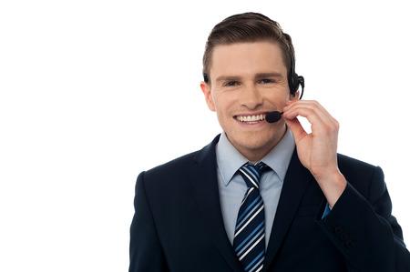 Customer service representative wearing a headset photo