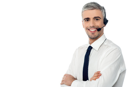 call center representative: Crossed arms call center operator with headset