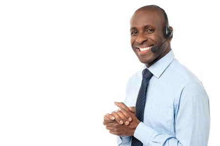 Happy smiling customer support executive