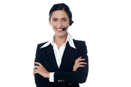 Smiling representative in headset offering help and support photo