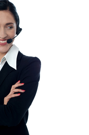 Female customer service representative with headset photo