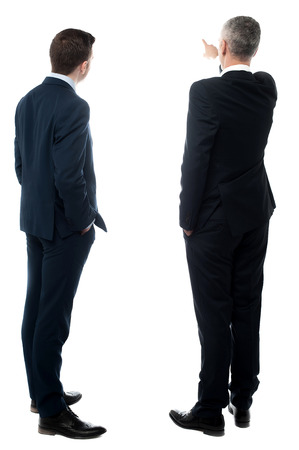 Back view of two businessmen pointing at wall