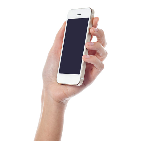 cell phone screen: Female hand holding new cell phone