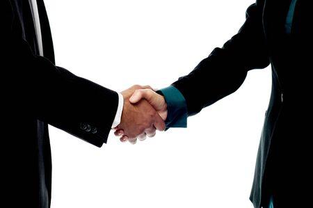 Handshake, hand holding on white background photo