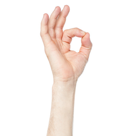 ok sign: Hand OK sign on white background Stock Photo