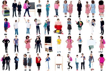 Collage, education concept  White background  photo