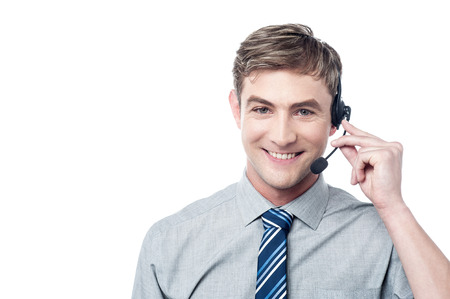Happy young male customer support executive