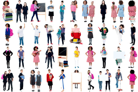 Collage, education concept. White background. photo