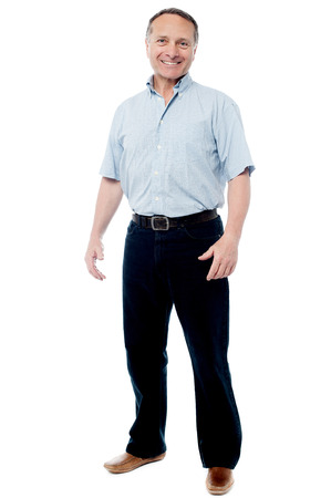 standing man: Full length portrait of a casual senior man standing