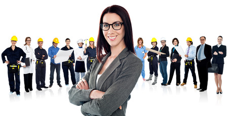 Business group with female leader in front photo