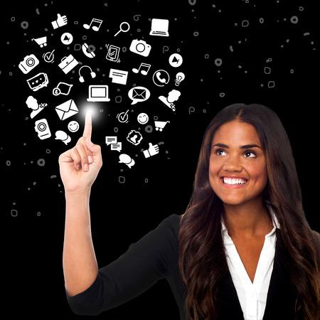 mixed race girl: Businesswoman prefers social media platform