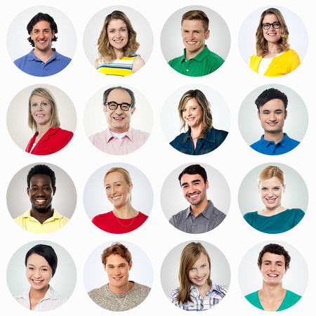 Composition of diverse smiling people Stock Photo