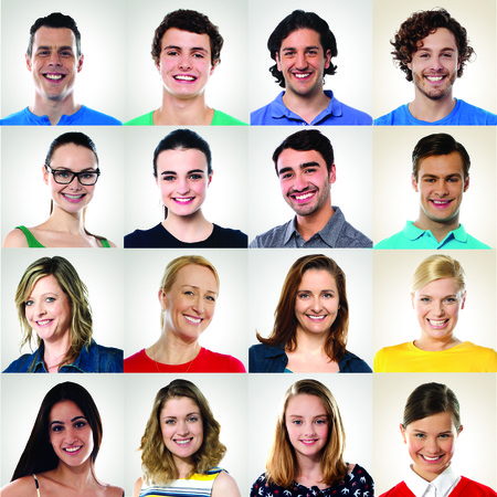 Collection of multiracial group of smiling people photo