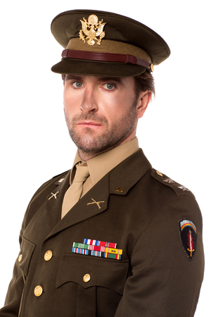 colonel: Serious USA army man isolated against white